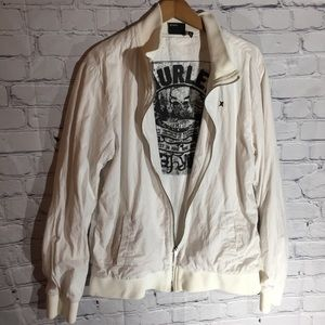 Hurley white baseball jacket Sz L